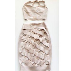 Dresses & Skirts - Sexy nude Open Caged Bandage Skirt Set 😍